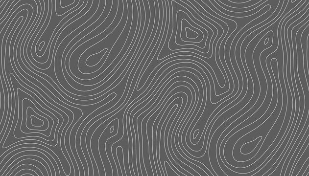 Seamless vector topographic map background white on dark. Line topography map seamless pattern. Mountain hiking trail over terrain. Seamless wavy pattern. Contour background geographic grid.