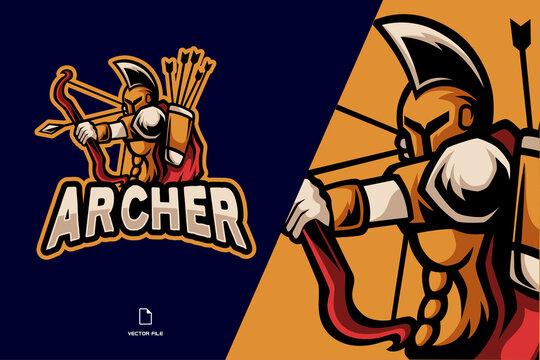 spartan archer mascot logo for game team