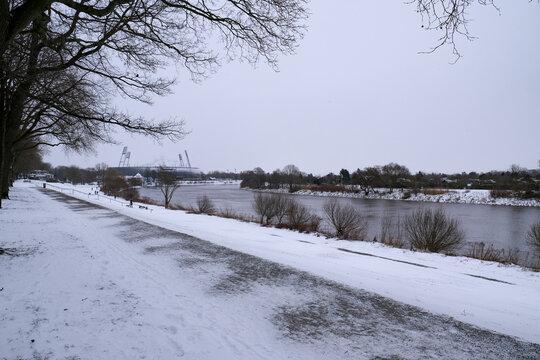 Bremen Weser im Winter