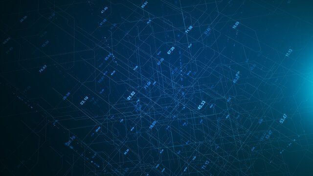 Digital network technology futuristic theme illustration concept. Abstract grid perspective graphic background.