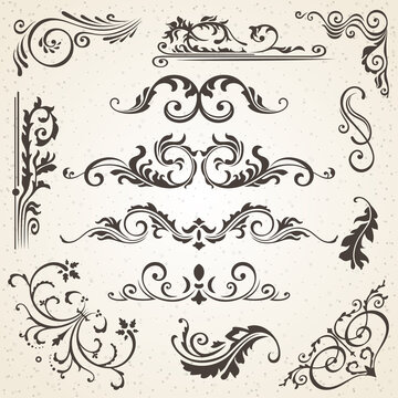 Calligraphic design elements and page decoration. set to embellish your layout