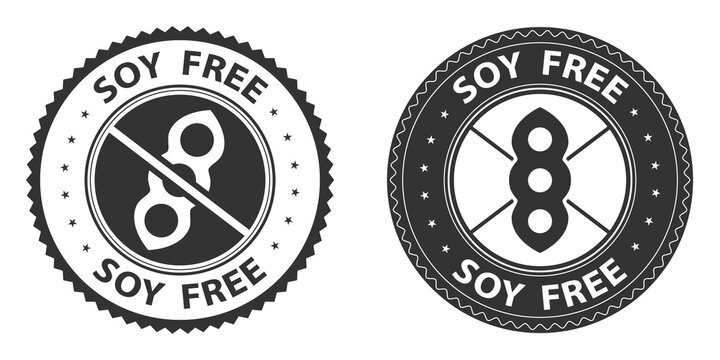 Soy free icons, stamps set. Vector illustration isolated on white background. Badge or sticker flat design. Healthy food concept. No soy symbol for food packaging or dietetic product nutrition sign.