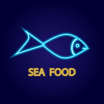 Seafood neon sign. Fish on background. Vector illustration in neon style for fish or seafood restaurant, cafe, store.
