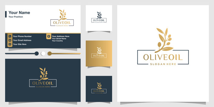 Olive oil logo with fresh concept and business card design Premium Vector