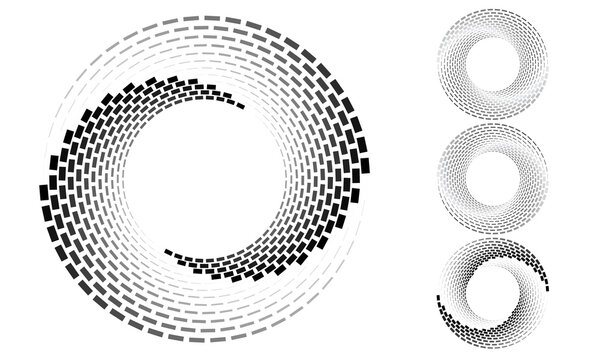 Set of gray spirals with rectangles over white backdrop. Abstract background for any projects. Yin and yang symbol. Differents spin and gradients in circles.