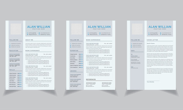 Creative Resume template with Gray Zumthor Header and left side