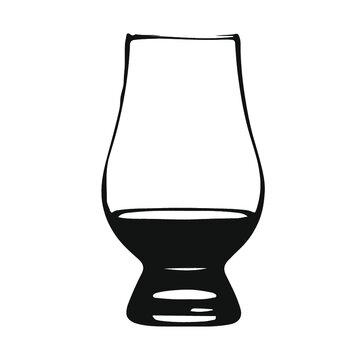 Glencairn whisky glass for scotch black illustration