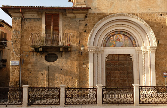 Outside wall of Sant'Agostino church in Cittaducale, Rieti, Italy