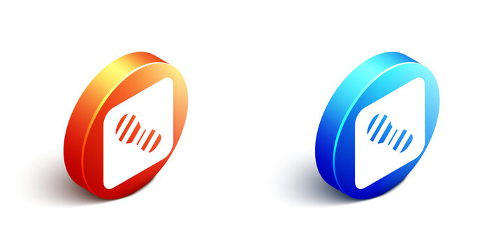 Isometric Human footprints shoes icon isolated on white background. Shoes sole. Orange and blue circle button. Vector.