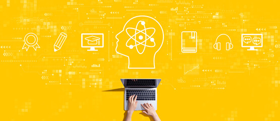 Online education concept with person working with a laptop