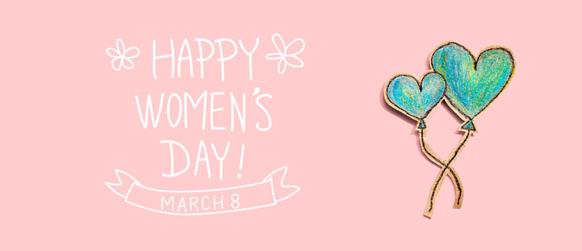 Happy women's day message with hand draw blue hearts - flat lay