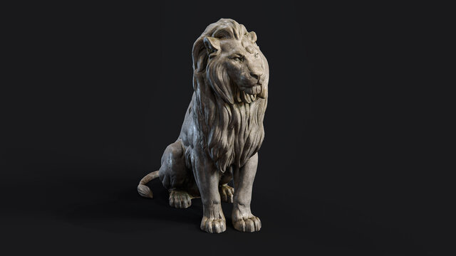 Sitting Lion 3d Sculpture