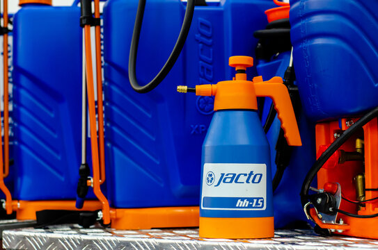 Kyiv, Ukraine - February 16, 2021: JACTO sprayers for sale.