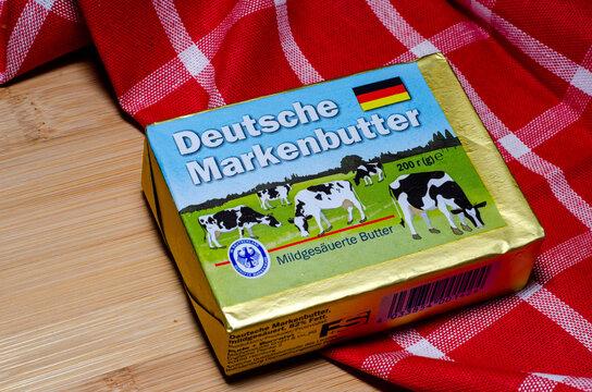 Kyiv, Ukraine - February 05, 2021: Premium German butter (Deutsche Markenbutter)