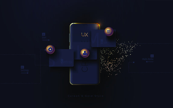 Mobile ui ux, korbon and gold concept. Mobile phone with a mobile app interface consisting of blocks and icons on a black background. User experience, User interface. Vector illustration 3D style.