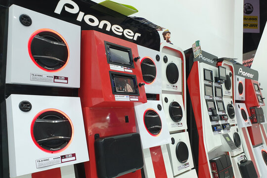 Pioneer customised car sound system in Bangkok International Motor Show. It is a Japanese multinational corporation that specializes in digital entertainment products. BANGKOK, THAILAND - 6 APR 2019.