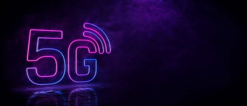 Pink and blue neon light 5G icon. Vibrant colored technology symbol, isolated on a black background. 3D Render