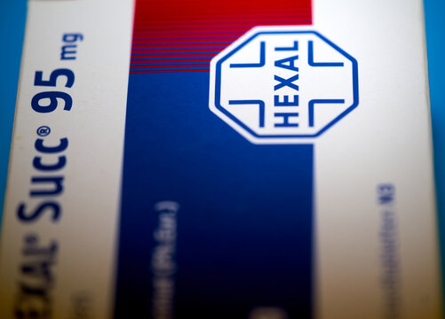 Hexal, a brand of the Sandoz company, packaging for tablets against high blood pressure in Gifhorn, Germany, Feb. 20, 2021