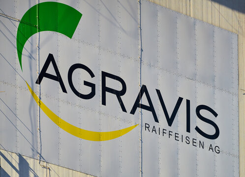 Agravis Raiffeisen AG hoist and logo of the largest European group for agricultural trade on a storage silo in Wolfsburg, Germany, February 21, 2021