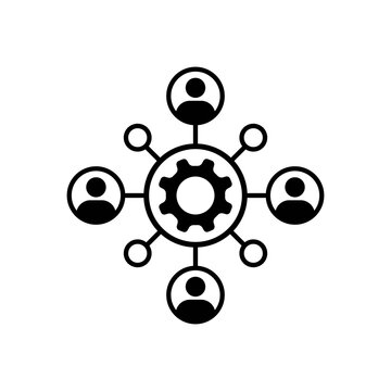 Teamwork icon. Group of people like joint development or partnership. Metaphor of human resources or recruitment and corporate culture. Vector EPS 10. Isolated on white background
