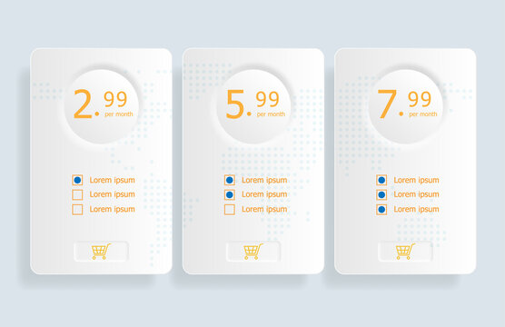 price table template background