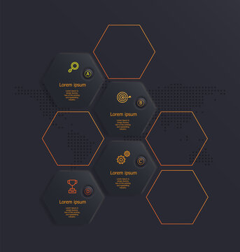 abstract soft ui hexagon infographics 4 steps for business and presentation