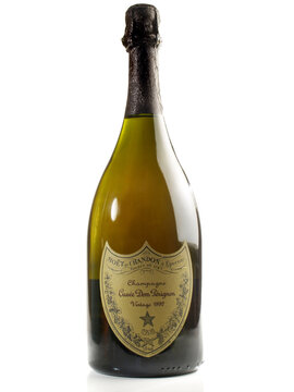 Dom Perignon champagne bottle isolated on white Background