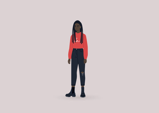 A young female Black character wearing heavy black boots and a red long sleeve shirt, modern casual lifestyle