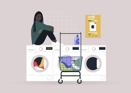 Household chores concept, a young female Black character waiting for their laundry in a coin laundromat
