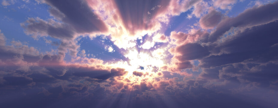 Sunset / sunrise with clouds, light rays and other atmospheric effect, 3d illustration