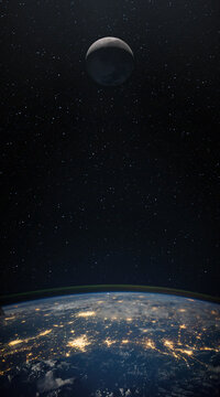 Moon. and planet Earth against the background of the starry night sky. Space background with Earth and satellite Moon. Elements of this image furnished by NASA.
