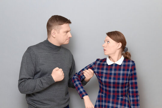 Portrait of couple during the quarrel, relationship concept