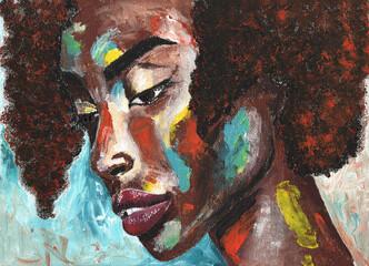 Fototapeta Portrait of african woman in graffiti style. Black lives matter obraz