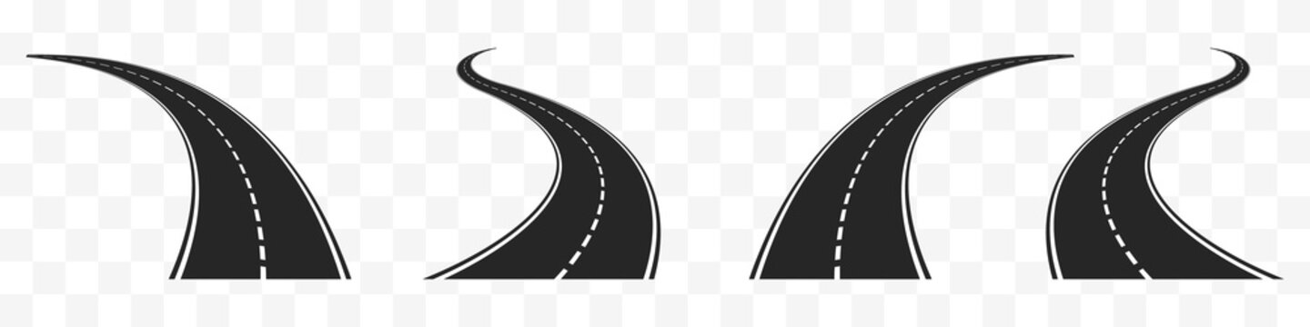 Highways meandering in different directions set. Black coil line asphalt with white dotted line difficulties of life path with constantly changing events vector priorities.