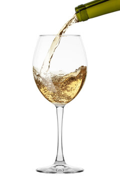 white Wine in glass isolated on white background, full depth of field, clipping path