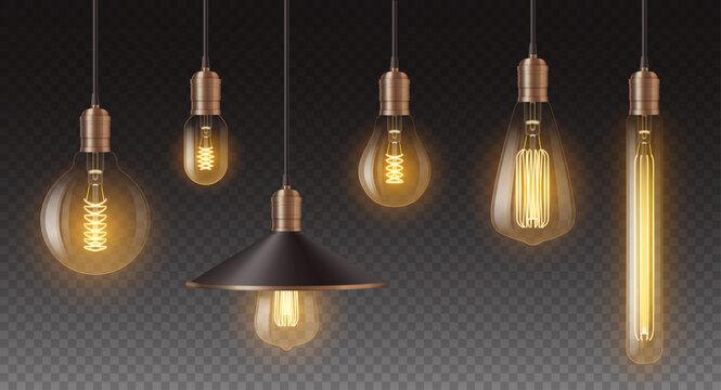 Realistic retro light bulbs set. Decorative vintage design edison lightbulbs of different shapes