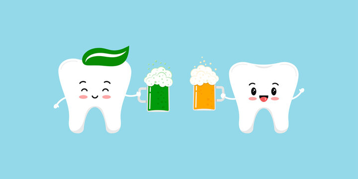 St Patrick day teeth with beer clink glasses. Cute dental happy tooth irish character with glass of splashing beer and ale. Flat design cartoon dentist celebration vector illustration.