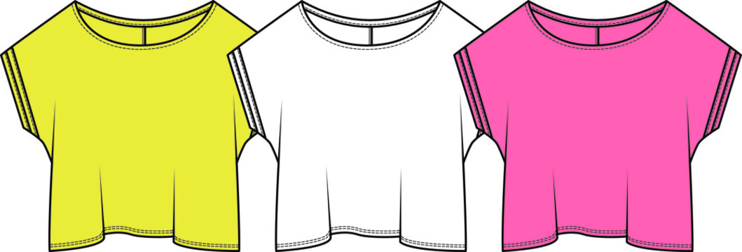 Women's  T Shirt. Fashion Flat Sketch, apparel template, vector