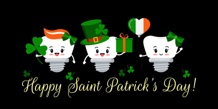 St Patrick day teeth dental implant on dentistry greeting card. Tooth irish character with gift, lucky clover on green hat, flag colors balloon. Flat cartoon vector Happy paddy's day illustration.