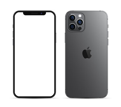 Kiev, Ukraine - February 21, 2021: Apple iPhone 12 Pro or Pro Max in graphite color. Mock-up screen front view iphone with white screen and back side phone.