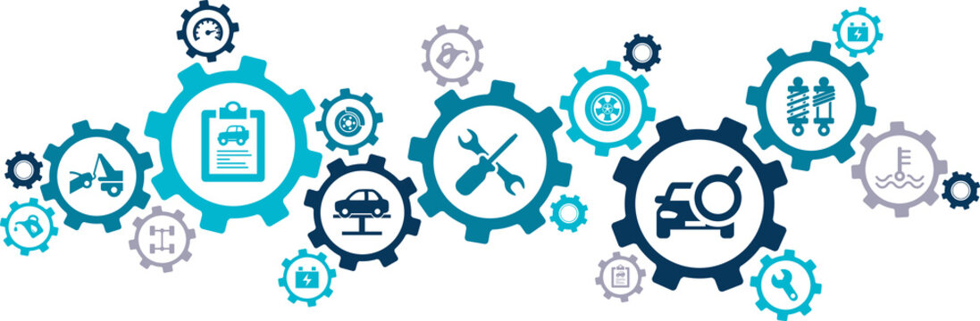 Car / auto repair vector illustration. Concept with icons related to car service and inspection, motor check, oil change, automotive maintenance, vehicle or automobile repair shop.