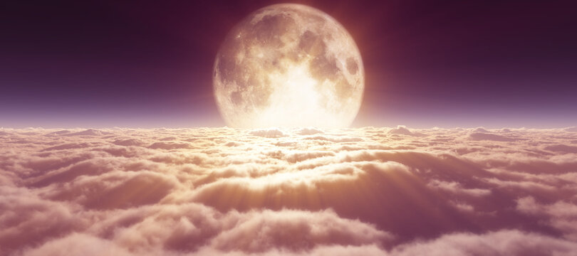 above clouds full moon illustration