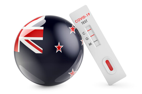 Diagnostic test for coronavirus in New Zealand. Antibody test COVID-19 with New Zealand flag, 3D rendering