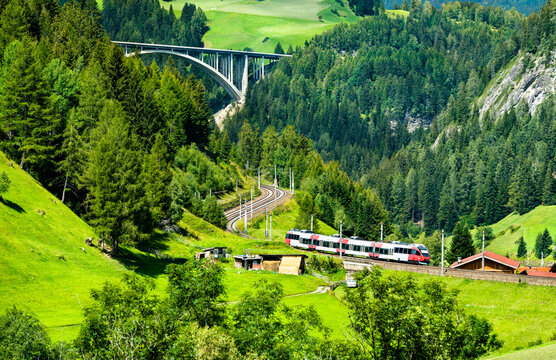 Regional train at the Brenner Railway in the Austrian Alps