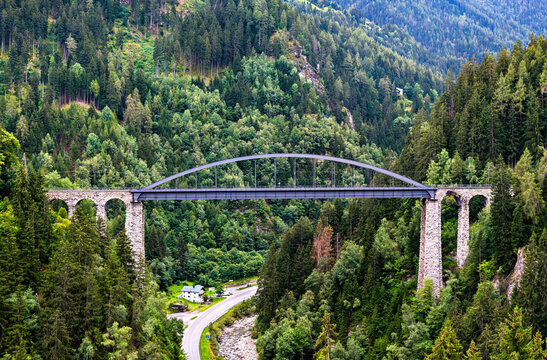 The Trisanna Bridge in Tyrol, the Austrian Alps