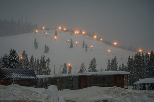 2021-02-14 SNOQUALMIE PASS SKI RESORT AT DAWN WITH LIGHTS ON