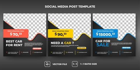 Fototapeta Set of Editable promotion banner template. Modern social media car rental set design. Flat design vector illustration with a photo collage. Usable for social media, flyers, and web internet ads. obraz
