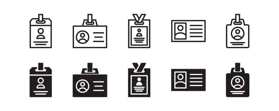 ID card, press card, name tag icon set. Vector graphic illustration. Suitable for website design, logo, app, template, and ui.