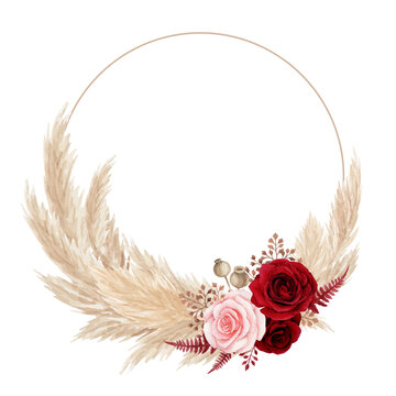 Watercolor bohemian floral wreath with red rose and pampas grass