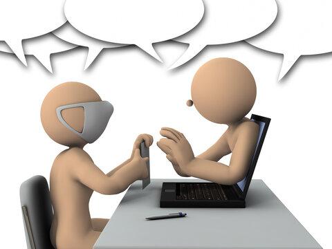 リモートワークで会話するビジネスマン。3Dレンダリング。